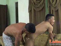 Swarthy twinks play cock-and-tail at the bedroom