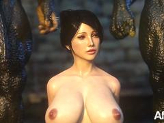 3d animation thressome with orcs and a big tits beauty