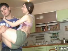 Astounding russian teenager lily bounces on slim jim