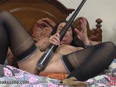 Dirty MILF fucks her pussy with baseball bat