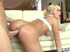 Aroused mature lea lexus with massive natural tits cums many times