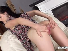 Nasty czech chick stretches her spread pussy to the unusual