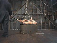 very tight bondage suspensed boob tied and fingered film