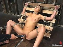 Bondage virgin tied flogged and fucked with huge dildo