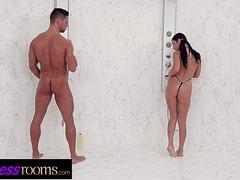 Fitness Rooms Big tits gym babe Nelly Kent gagging face fuck in the shower