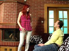Skinny Redhead Step Daugther Maggie talk to Fuck by Dad