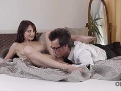 OLD4K. Young babe Lana Ray spreads slender legs for old gentleman