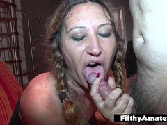 Smoking blonde babe sucks cock and gets really amateur fucked