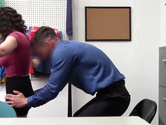 Naughty shoplifter brunette gets her hairy cunt banged and eaten on the desk by a desiring officer