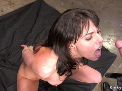 Tied ankles to wrist babe gets fucked