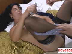 Lucia is a latina old woman who feels horny in her car