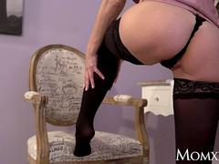 MOM Big tits blonde Nathaly Cherie slow romantic fuck in stockings