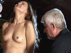 Cruel twisting and clamping of girl s nipples