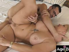Lusty granny Anna enjoyed Johns veiny cock in her mouth and pussy