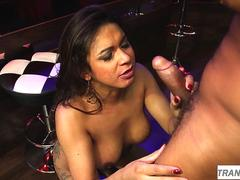 Bigtitted latina trans with booty sucks dick