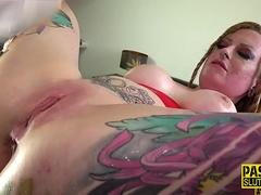 Inked sub anally toyed