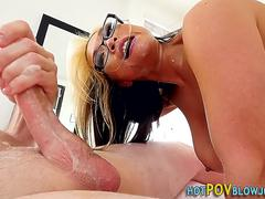 Asian ho gags on cock pov