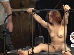 Redhead girl soles caned