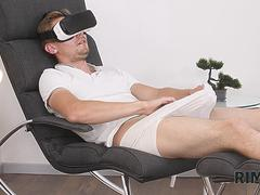 RIM4K. Girl saw man jerking off to VR porn and gave him rimming instead