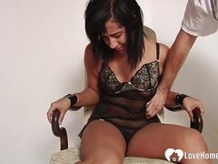 Girlfriend bound to a chair gets tickled