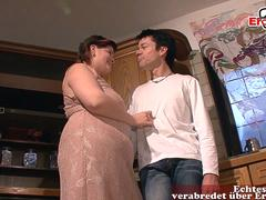 german chubby fat housewife seduced in kitchen