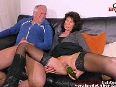 german mature housewife in nylons fuck with a cucumber at casting