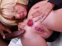 Interracial anal threesome with beautiful anal prolapse at the end and ass
