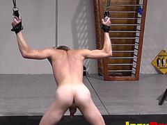 Tied submissive twink loving rough whipping during bondage
