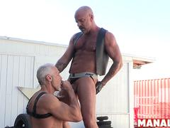 MANALIZED Leather Hunk Dallas Steele Eats Ass Before Fucking