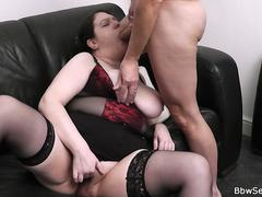 Busty fatty spreads legs for his huge cheating dick