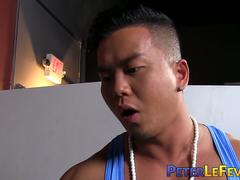 Horny mucsle Asian pounds inked stud hardcore doggystyle
