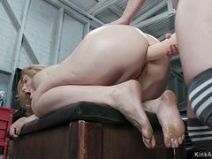 Lesbian anal fucked with strap on