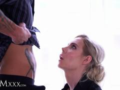 MOMxxx Gorgeous blonde MILF Florane Russell romantic sex in lingerie fishnets and heels