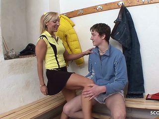 Female Sport Teacher Help Virgin Boy with Fuck after Lesson