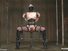 Chained blindfolded slave whipped