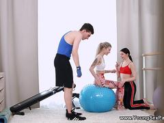 Young Sex Parties - Rin White - Home fitness threeway workout