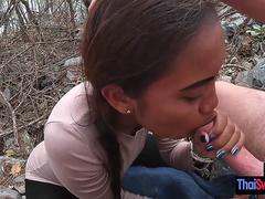 Horny Asian sucking big dick outdoor and pleased dirty client with big dick