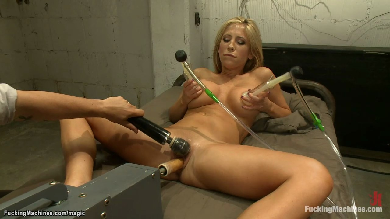 Busty suction nipples and fuck machine