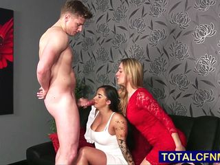Naked dude gets a bj from two lusty housewives