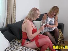 Two hot matures fucked wild in a threesome