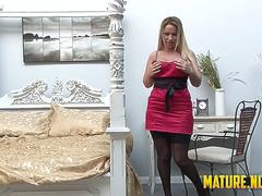 Big titted milf doing a sensual masturbation when she is home alone