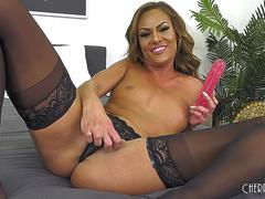 Hot Blonde MILF Loves Showing off in a Thong Before She Masturbates