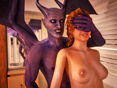 Demonic fuck for a glamour slut. 3D Monster Porn