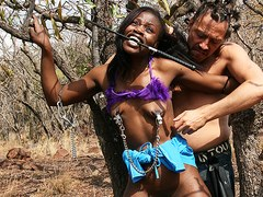 skinny african milf first time bdsm outdoor experience with a german big cock safari tourist