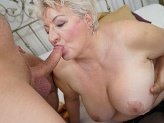 Short Haired Chubby GILF Swallows Young Boy