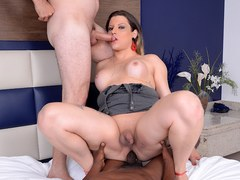 Tranny Slut Amanda Ferraz Takes Two Hard Rods up Her Asshole at Once