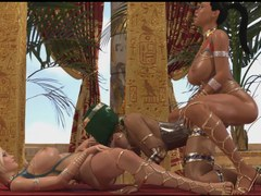 Lesbian futanari threesome adventure animation in Egypt