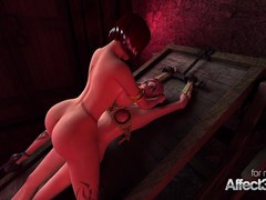 3D fantasy animation with a vampire and a futanari babe