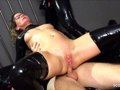 Real German Teacher Izzy Mendosa love Anal BDSM Latex 3some