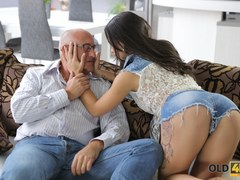 OLD4K. Sultry belle with amazing boobs nicely analyzed by old lover